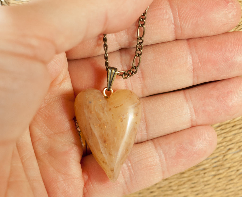 Golden Heart Pendant - Hand sculpted