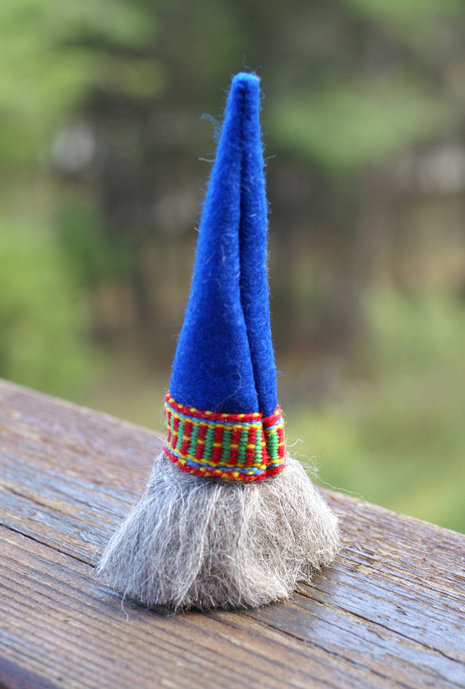 Swedish Christmas Gnome- Blue Hat with Band Woven Trim