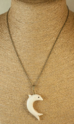 Hand Made Dolphin Pendant - Faux Ivory Clay