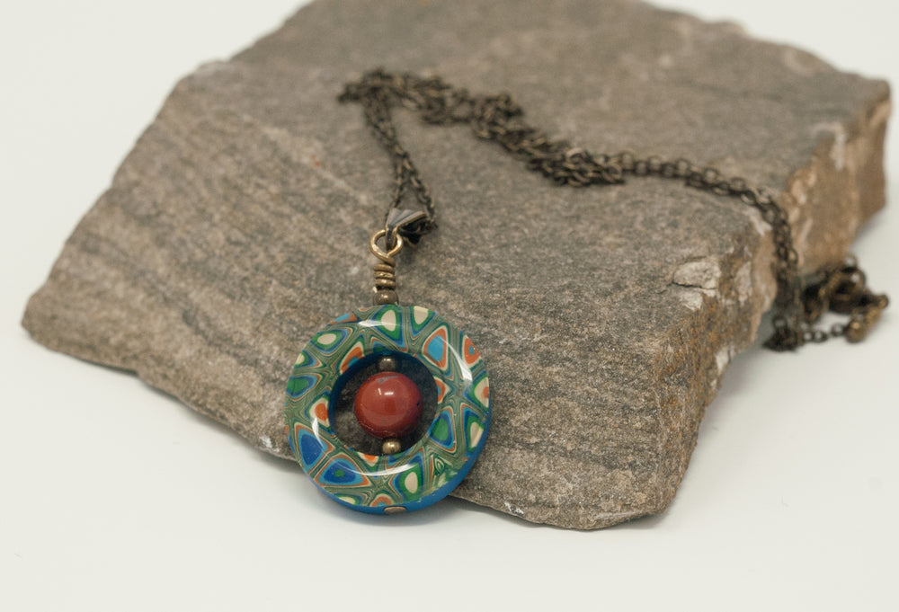 Lifesaver Pendant Red Jasper Gemstone Necklace