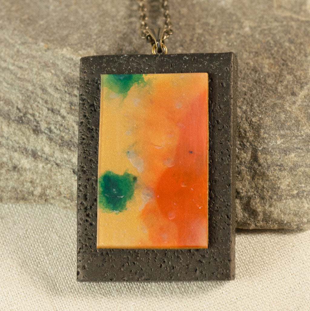 Wearable Art - Hand Painted Clay Pendant