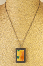 Hand Painted Rectangle Pendant - Geometric Pendant - Abstract