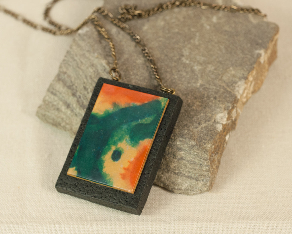 Rectangle Pendant - Hand painted Abstract Art