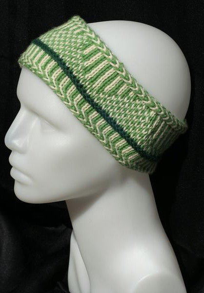 Nordic Knit Headband - 100% wool Green