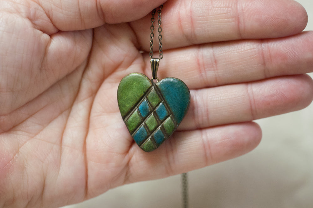 Heart Pendant in Mixed Media in Soft Blue and Green