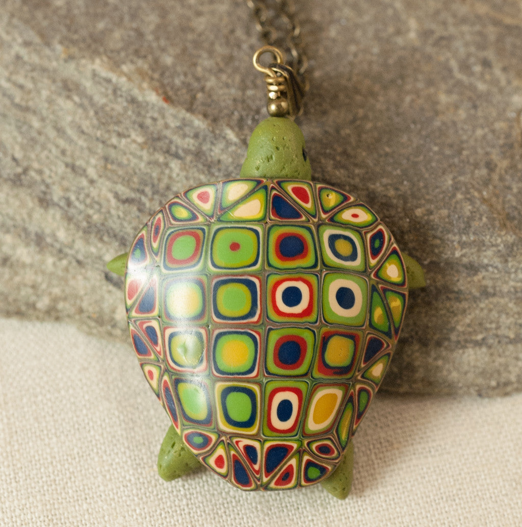 Green Sea Turtle Pendant - Sage Green