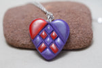 Heart Pendant Red and Lilac Mixed Media