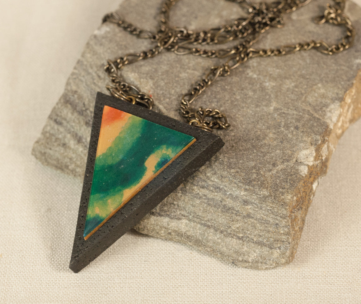 Triangle Geometric Pendant Necklace - Wearable Art