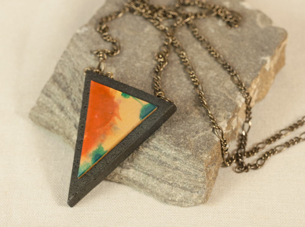 Geometric Triangle Pendant ~ Hand sculpted Wearable Jewelry