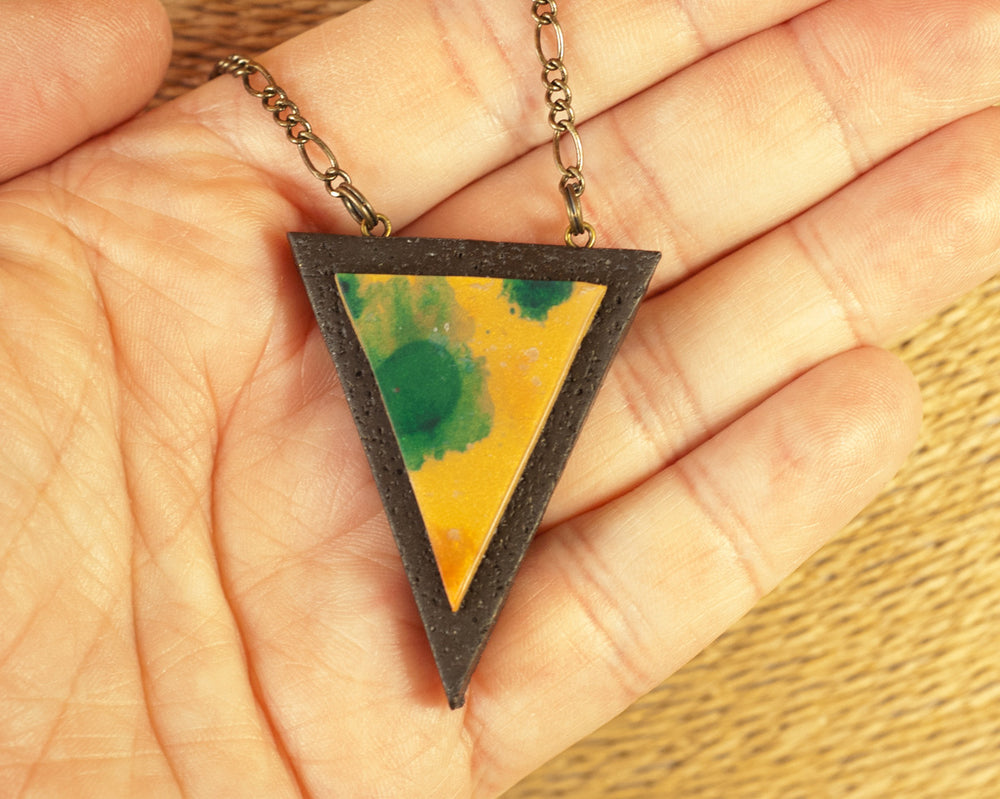 Wearable Art Pendant - Triangle Shaped Tribal Necklace
