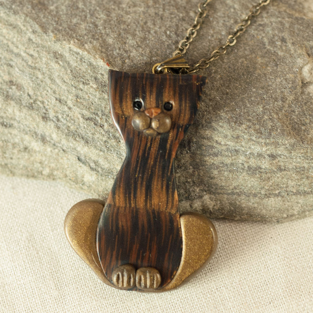 Whimsical Cat Pendant - Bronze and Black Clay