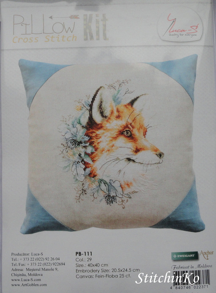 LUCA-S . Pillow Cross Stitch Kits. Fox