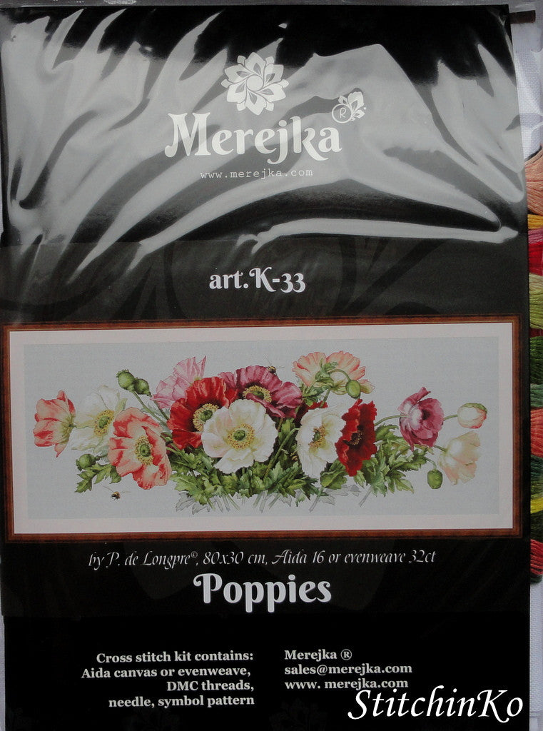 Merejka Cross Stitch Kits Poppy