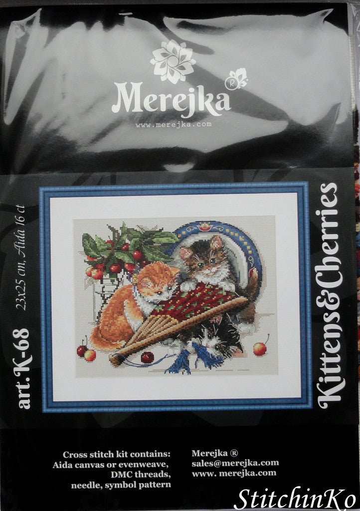 MEREJKA CROSS STITCH Kittens and Cherries