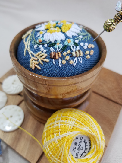 ~ Bee's in the field ~ Exclusive Handmade Pincushion