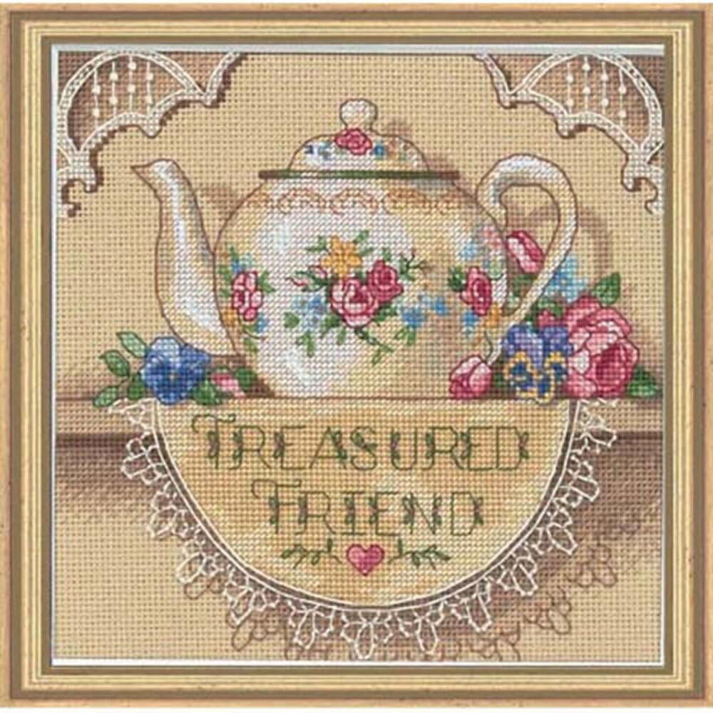 Treasured Friend Teapot ~ Dimensions Counted Cross-Stitch Kit