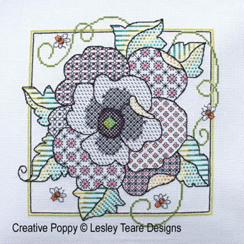 Blackwork Poppy ~ Lesley Teare