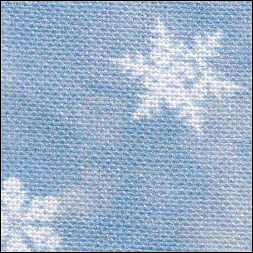 Blue Classic Snowflakes with silver 28ct Linen ~ Fabric Flair