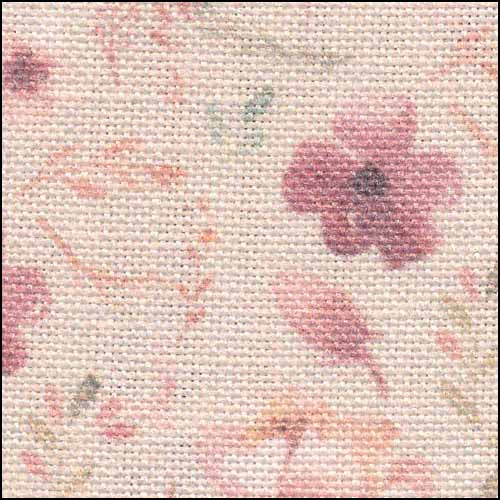 Blooms on Pink 32ct Linen ~ Fabric Flair