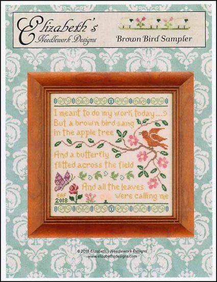 Brown Bird Sampler ~ Elizabeth's Needlework Designs