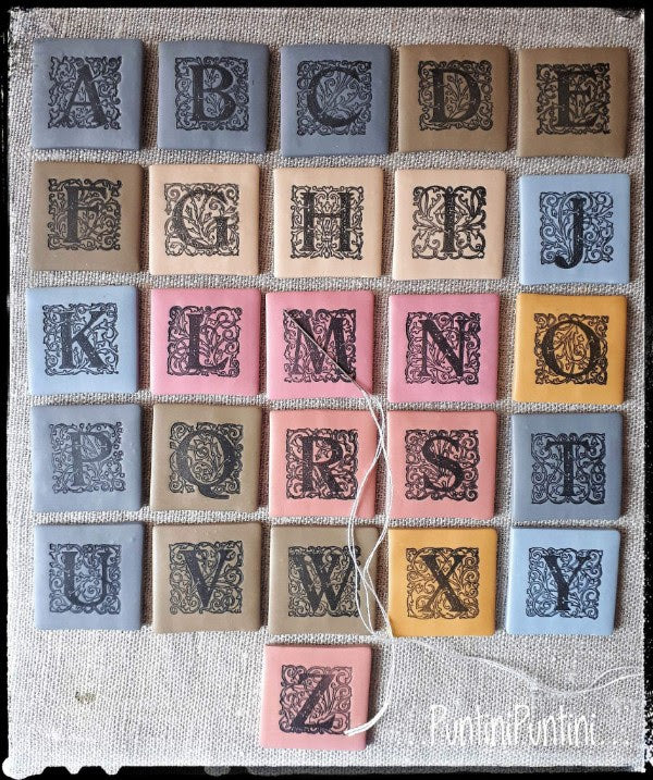 Alphabet Letters Needle Minder (dusty blue, dusty pink) ~ PuntiniPuntini