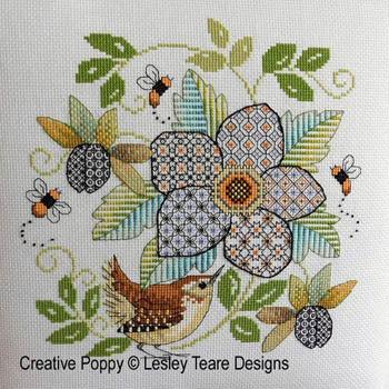 Blackwork Flower With Wren ~ Lesley Teare