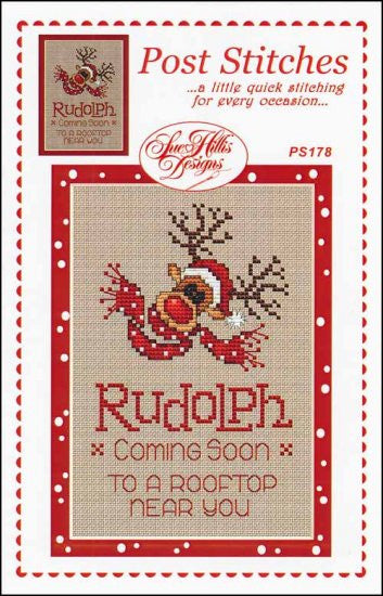 Post Stitches: Rudolph, Pack of 3 ~ Sue Hillis Designs