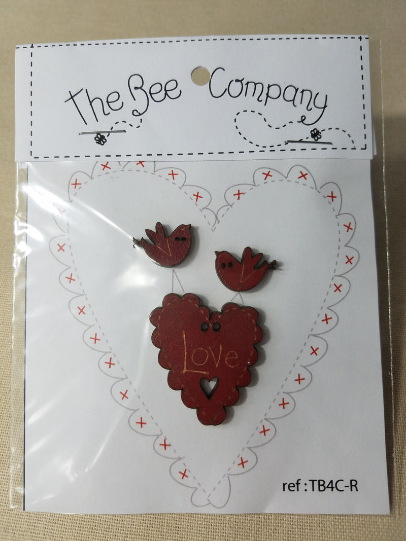 Love Heart & Bird Buttons Red  ~ The Bee Company