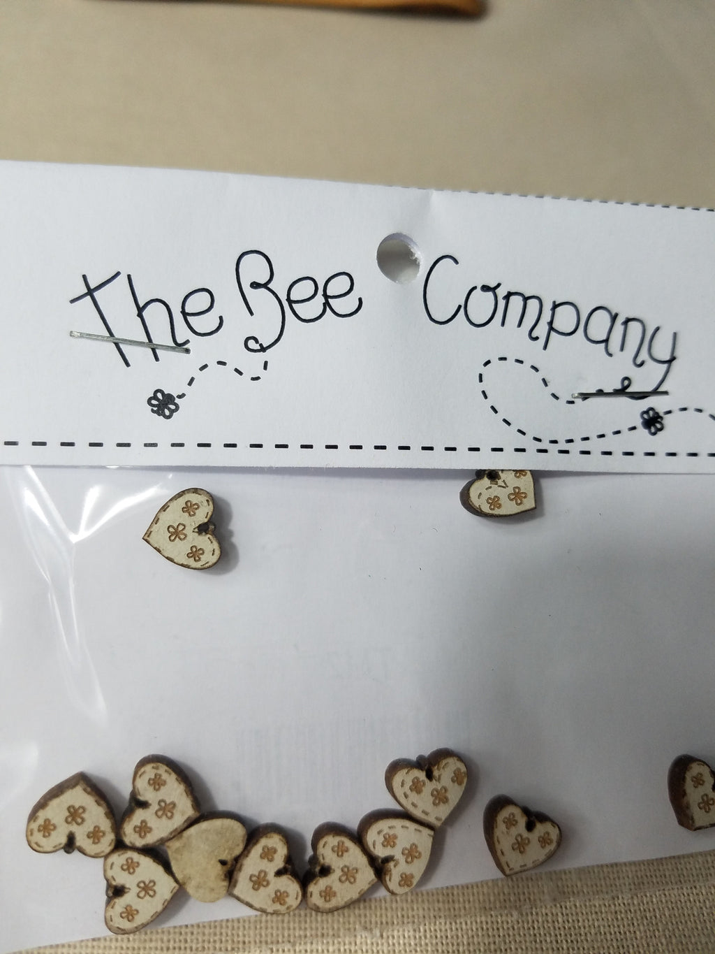 Twelve Mini Cream Heart Buttons  ~ The Bee Company