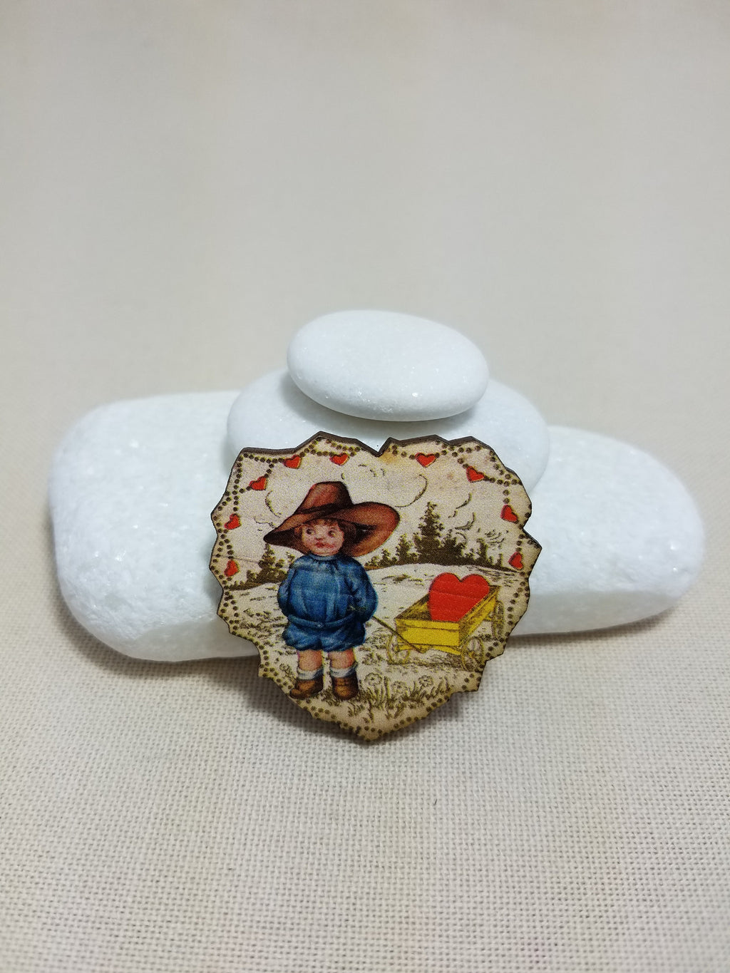 ~ Needleminder ~ Vintage heart boy with a cart