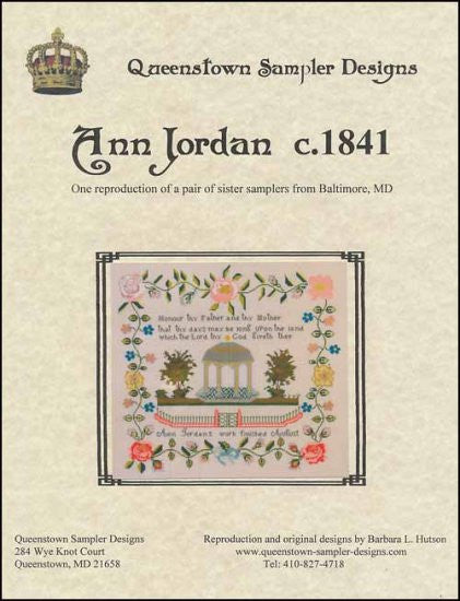 Ann Jordan c1841 ~ Queenstown Sampler Designs