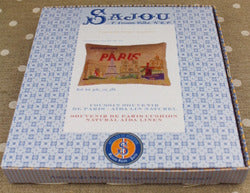 CROSS STITCH CUSHION KIT PARIS - TEA LINEN ~ SAJOU