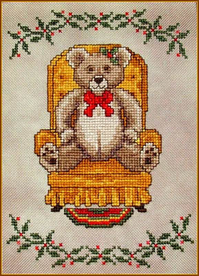 Christmas Teddy ~  Cross-Point Designs