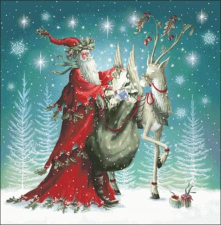 Forest Santa And Reindeer ~ Charting Creations