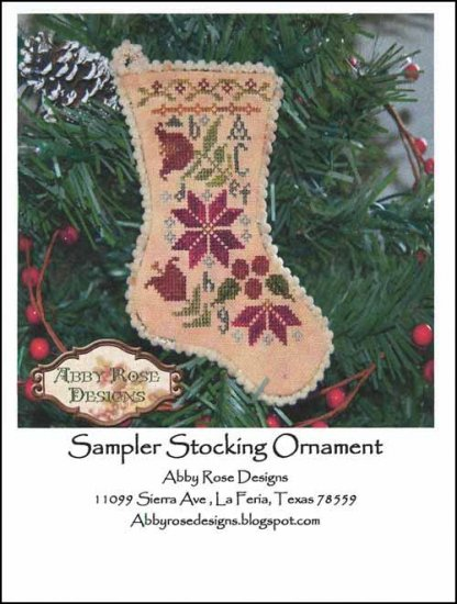 Sampler Stocking Ornament ~ Abby Rose Designs