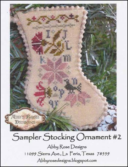 Sampler Stocking Ornament #2 ~ Abby Rose Designs