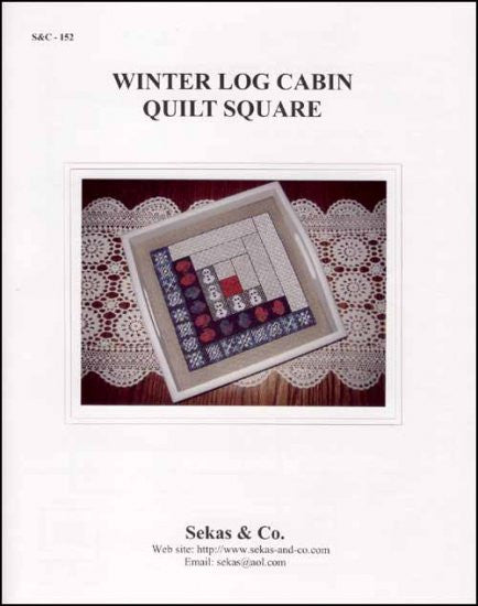 Winter Log Cabin Quilt Square