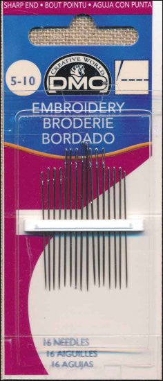 DMC EMBROIDERY NEEDLES. SIZES 5/10