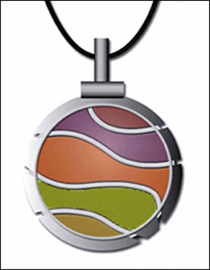 LIME/ORANGE WAVE THREAD CUTTER PENDANT