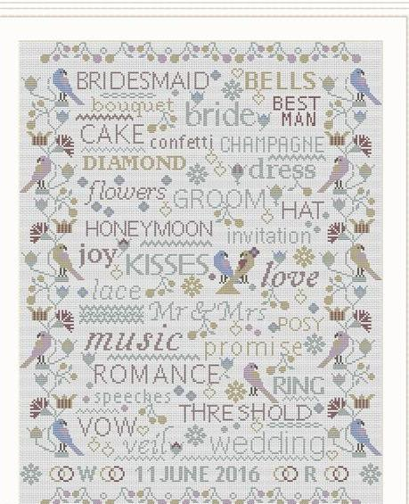 Birds and Words - Wedding / Anniversary Sampler ~ RDH134-PRT ~ Riverdrift House