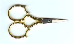 "Sullivans ~ 4"" GOLD LEAF HANDLE EMBROIDERY SCISSOR"
