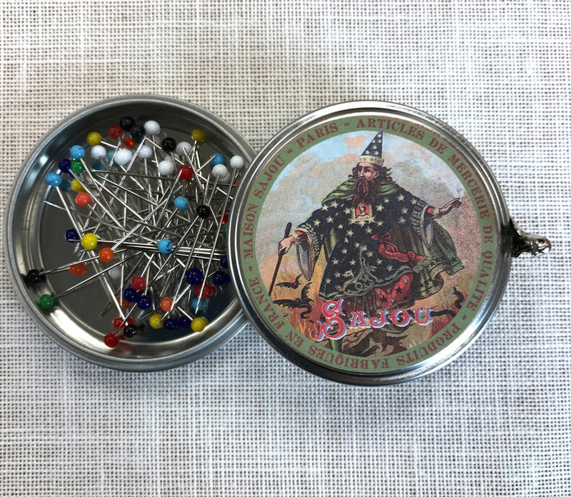 Metal Tins with 60 Murino Glass Head Pins ~ SAJOU