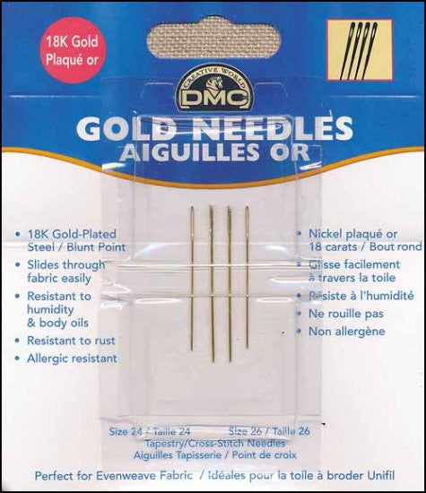 DMC GOLD TAPESTRY NEEDLES. SIZE 22
