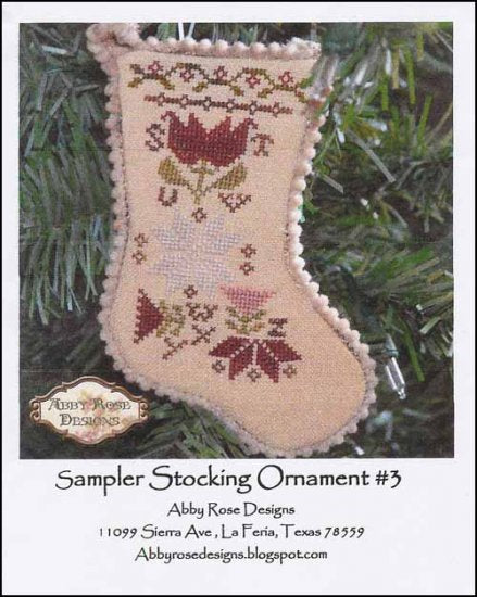 Sampler Stocking Ornament #3 ~ Abby Rose Designs