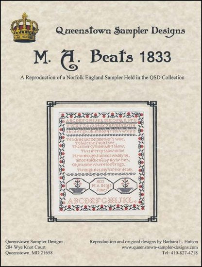 MA Beats 1833 ~ Queenstown Sampler Designs