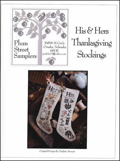 His & Her Thanksgiving Stockings ~ Plum Street Samplers (M)