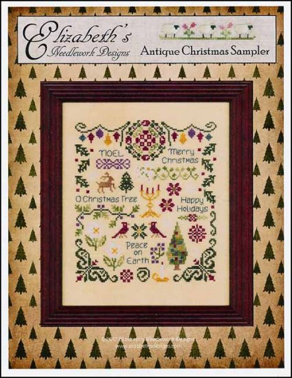 Antique Christmas Sampler ~ Elizabeth's Needlework Designs