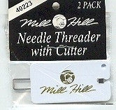 Two small eye needle threaders with cutter ~ Mill Hill