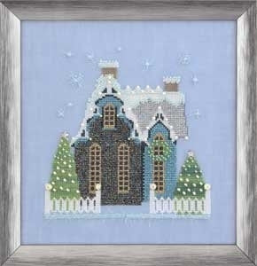 NC163 ~ Little Snowy Blue Cottage ~ Nora Corbett