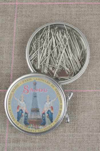 "Metal Tins with Dressmaker's Pins No. 5 -1 1/4""  ~ SAJOU"